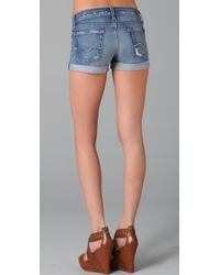 7 For All Mankind - Blue Roll Up Shorts - Lyst