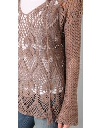 Free People - Brown Pacifica Crochet Hooded Sweater - Lyst