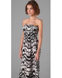 Parker | Black Strapless Long Dress | Lyst