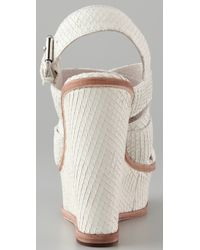 Pencey - White Orsino Wedge Sandals - Lyst