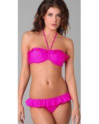 Shoshanna | Pink Solid Ruffle Bikini Top | Lyst