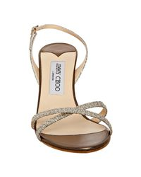 Jimmy Choo - Metallic Champagne Glitter India Sandals - Lyst