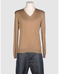 Prada | Light Brown Wool V-neck Sweater for Men | Lyst