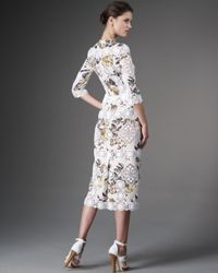 Dolce & Gabbana - White Half-sleeve Lace & Floral Dress - Lyst