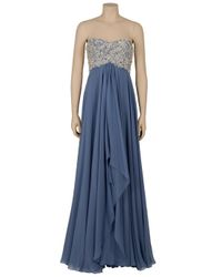 Marchesa | Blue Diamante Embroidered Gown | Lyst