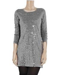 DKNY - Metallic Sequin-embellished T-shirt Dress - Lyst