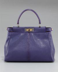 Fendi - Purple Peekaboo Tote, Violet - Lyst