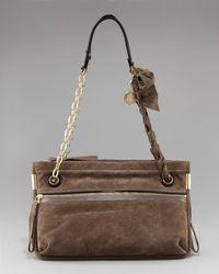 Lanvin - Brown Amalia Python-print Shoulder Bag - Lyst