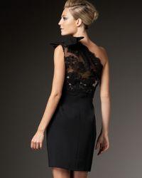 Marchesa - Black One-shoulder Lace-bodice Dress - Lyst