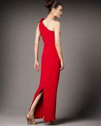 Notte by Marchesa - Red Draped Silk Crepe One Shoulder Gown - Lyst