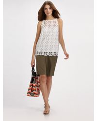 MILLY - White Morrison Eyelet Top - Lyst