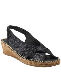 Andre Assous | Dodie - Black Metallic Linen Wedge | Lyst