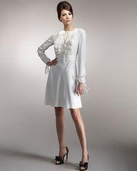 Valentino | White Ruffled Tie-neck Dress | Lyst
