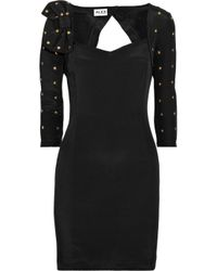 Alice By Temperley - Black Mini Aimey Studded Silk and Cotton-blend Dress - Lyst