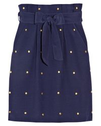 Alice By Temperley - Blue Claudia Studded Silk-blend Skirt - Lyst