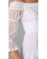 Catherine Malandrino - White Pleated Silk Blouse - Lyst