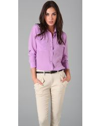 Equipment | Purple Signature Blouse | Lyst