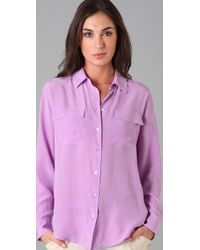 Equipment - Purple Signature Blouse - Lyst