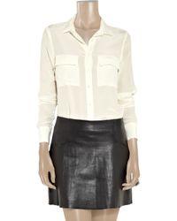 Equipment - White Washed Silk Pocket Shirt - Lyst