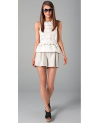 3.1 Phillip Lim | White Eyelet-embroidered Silk and Cotton-blend Peplum Top | Lyst