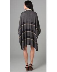 Madewell - Gray Striped Summertide Poncho - Lyst