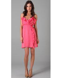 MILLY | Pink Stephanie Ruffle Dress | Lyst