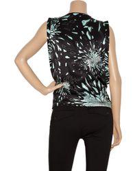 McQ - Black Draped Printed Silk Top - Lyst