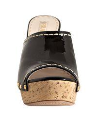 Prada | Sport Black Patent Leather Platform Slides | Lyst