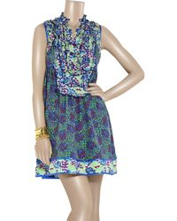 Anna Sui | Blue Printed Silk Dress | Lyst