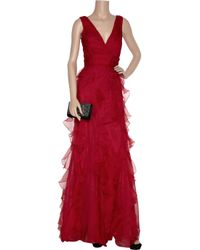 Badgley Mischka - Red Cap-sleeve Beaded Waist Tie-back Gown - Lyst