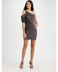 Halston | Gray One-shoulder Shirred Dress | Lyst