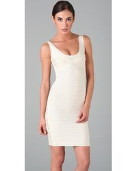 Hervé Léger | White Sleeveless Dress with Side Lacing | Lyst