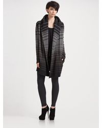 VINCE | Black Sophie Striped Sweater Coat | Lyst