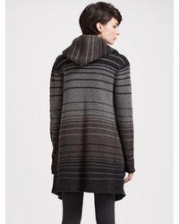 Vince - Black Sophie Striped Sweater Coat - Lyst