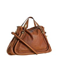 Chloé - Brown Wood Leather Paraty Top Handle Bag - Lyst