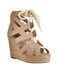 Dolce Vita | Natural Nude Leather Jianna Lace-up Espadrille Sandals | Lyst