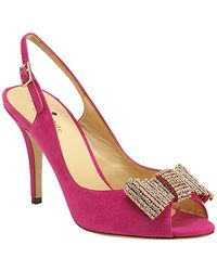 kate spade new york | Pink Crown - Fuschia Suede Slingback Embellished Pump | Lyst