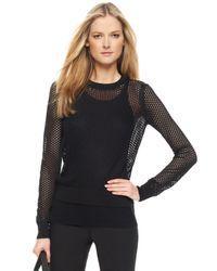 Michael Kors | Black Mesh-knit Sweater | Lyst