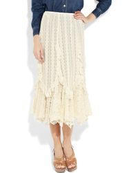 Anna Sui | Natural Ruffled Lace Midi Skirt | Lyst