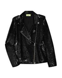 Ashish | Black Sequined Cotton Biker Jacket | Lyst