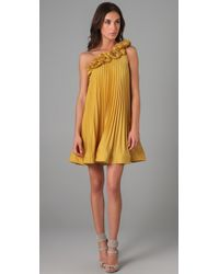 BCBGMAXAZRIA | Yellow Cece Sunburst Dress | Lyst