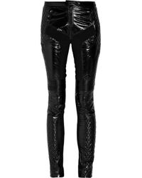 Burberry Prorsum | Black Glossed-leather Motocross Pants | Lyst