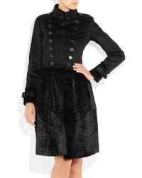 Burberry Prorsum | Black Wool-blend and Rabbit Coat | Lyst