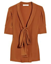 Chloé | Brown Silk Crepe De Chine Pussybow Blouse | Lyst