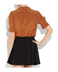 Chloé - Brown Silk Crepe De Chine Pussybow Blouse - Lyst