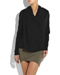 DKNY | Black Silk And Cashmere-blend Cardigan | Lyst