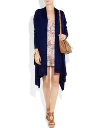 DKNY - Blue Cozy Wool Beaded Wrap Cardigan - Lyst
