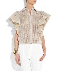Giambattista Valli | White Ruffled Cutout Silk-blend Blouse | Lyst