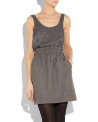 J.Crew - Gray Aurelia Embellished Silk and Wool Dress - Lyst