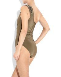 Jets by Jessika Allen | Green Armor Embellished One-shoulder Swimsuit | Lyst